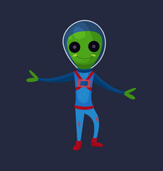 smiling green alien with big eyes wearing blue vector image vector image