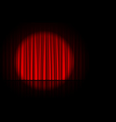 stage with red curtain and spotlight on it vector image vector image