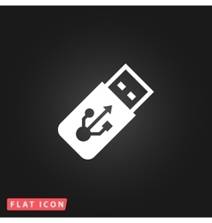 usb flash drive icon on a grey flat button vector image vector image