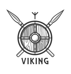 Vikings shield with two crossed spears and small vector
