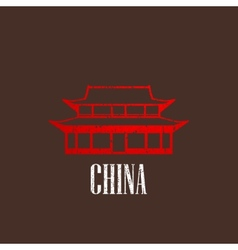 Vintage with chinese building icon vector