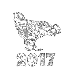 Stylish cock or rooster and numbers 2017 vector
