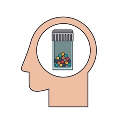 Silhouette head human with colorful pill bottle vector