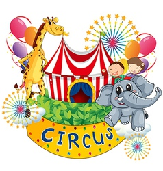A circus show with kids and animals vector