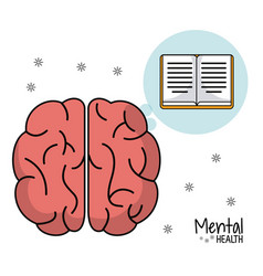 Mental health brain book learn design vector
