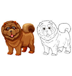 Animal outline for fluffy dog vector