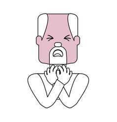 Man with heart attack face cartoon vector