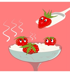 Strawberry with cream vector