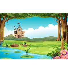 Castle and pond vector