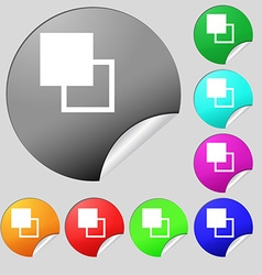 Active color toolbar icon sign set of eight vector