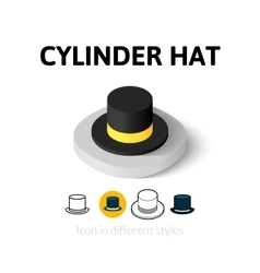 Cylinder hat icon in different style vector image