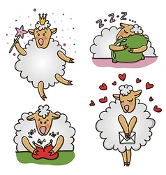 Set of funny sheep characters vector