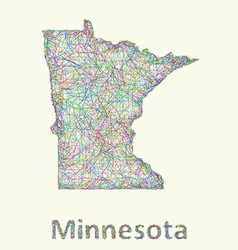 Minnesota line art map vector