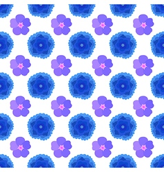 Stylized blue flowers seamless background vector