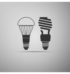 Led bulbs and fluorescent light bulb icon vector
