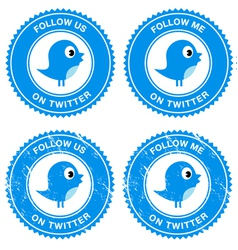 Blue bird social media follow retro labels vector