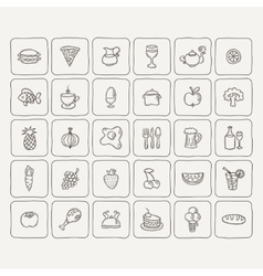 Set of food and drinks icons for restaurant vector