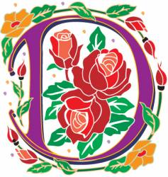 rosette letter D vector image