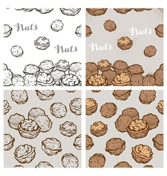 Seamless background with sketch nuts vector image