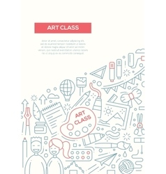Art class - line design brochure poster template vector