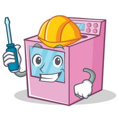 Automotive gas stove character cartoon vector