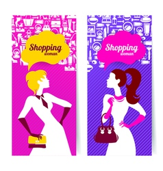Banners with silhouette of shopping women vector