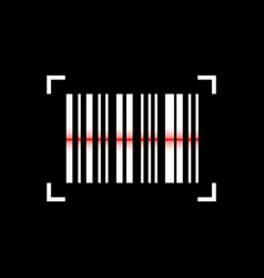 Barcode scanning icon on black background vector