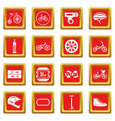 Biking icons set red vector