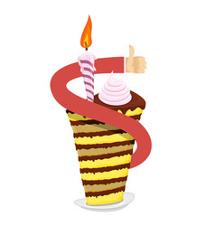 Birthday piece of cake hand thumb up great sweets vector