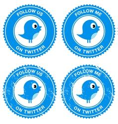Blue bird social media follow retro labels vector image