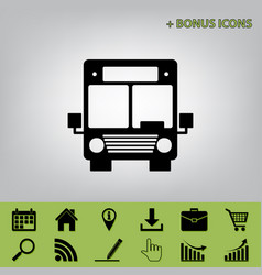 Bus sign black icon at gray vector