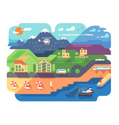 Coastal resort town vector