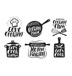 Cooking label set cook food eat home baking vector
