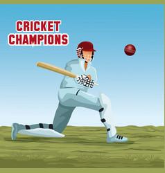 Cricket player cartoon vector