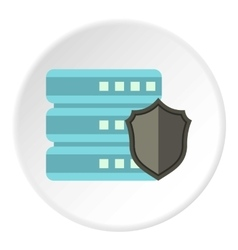 Data storage security icon flat style vector
