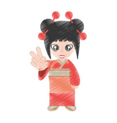 Drawing woman asian clothes vector