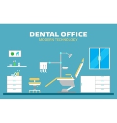 Flat banner dental office with seat and vector