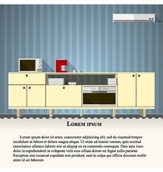 Flat of kitchen with blue wall vector