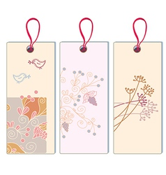 Floral banner with grape and bird set vector image vector image
