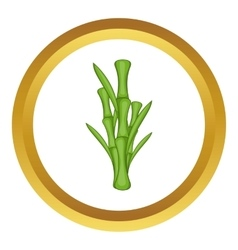 Green bamboo stems icon vector