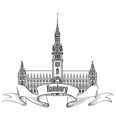hamburg landmark town hall germany europe hand vector image