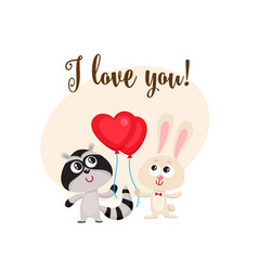 i love you card with rabbit raccoon heart shaped vector image vector image