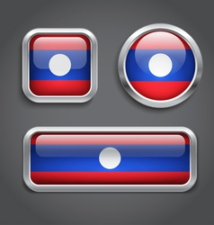 Laos flag glass buttons vector image