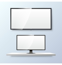 Lcd monitor and empty white flat TV screen vector image vector image