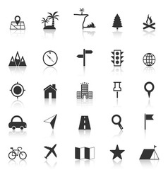 Location icons with reflect on white background vector image vector image