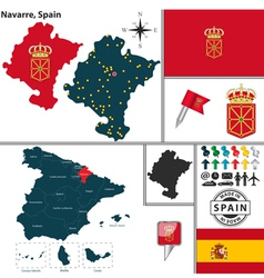 Map of Navarre vector image vector image