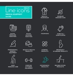 Medical Equipment - line design pictograms set vector image vector image