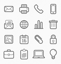 Office elements symbol line icon set vector