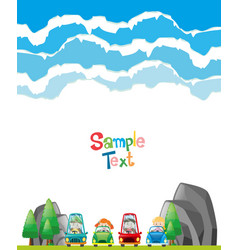 Paper design with children in cars vector