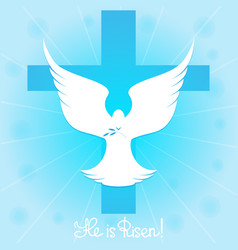 Pigeon in the sky by the cross he is risen vector